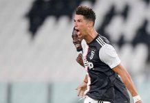 Ekspresi Cristiano Ronaldo usai mencetak gol ke gawang Sampdoria