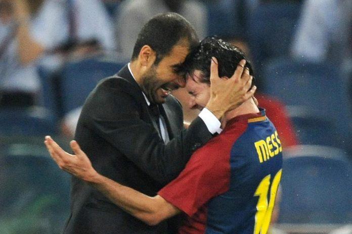 Pep Guardiola dan Lionel Messi saat masih bersama-sama di Barcelona