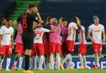 RB Leipzig merayakan kemenangannya usai kalahkan Atletico Madrid