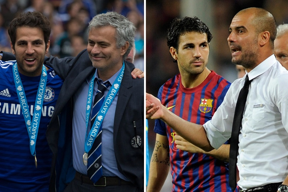 Fabregas saat dilatih Jose Mourinho (kiri) dan Fabregas saat di bawah asuhan Guardiola (kanan)