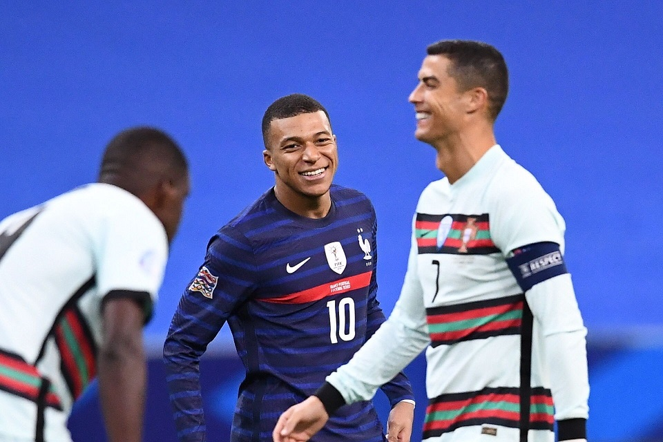Kylian Mbappe sangat senang saat bertemu Cristiano Ronaldo saat laga Timnas Prancis melawan Portugal