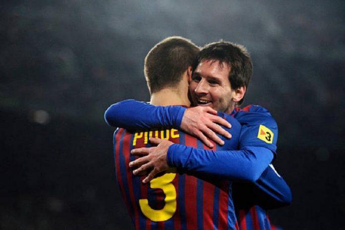 Lionel Messi dan Gerard Pique